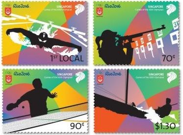 Singapore has issued a set of commemorative stamps in celebration of the Rio 2016 Summer Olympic Games on 5th August 2016.The Games of the XXXI Olympiad stamps come in four designs, featuring event...