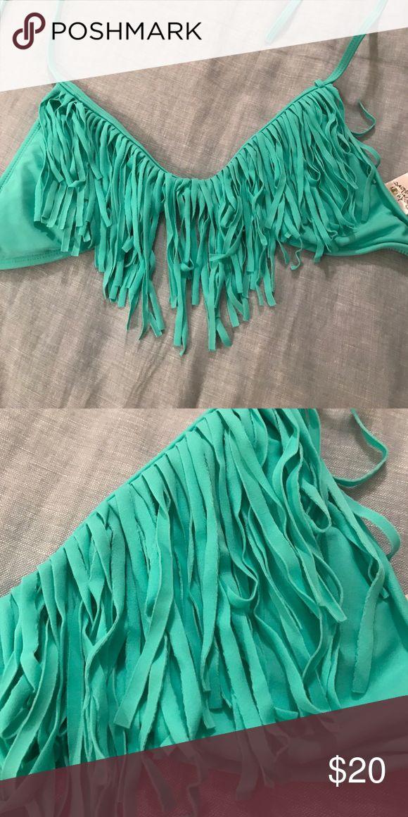 L space Sea foam green fringe bathing suit top Body glove teal fringe bathing suit top! Worn a couple times- great condition! Body Glove Swim Bikinis