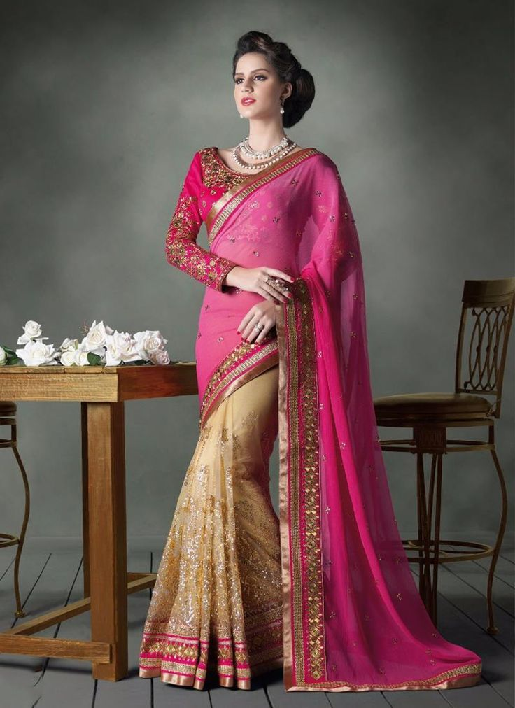 Enchanting Cream and Hot Pink Patch Border Work Designer Saree