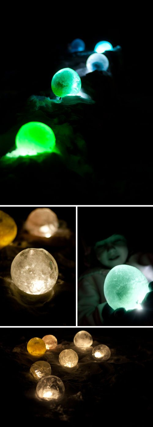 7 Crafty Outdoor Projects with Ice • Lots of great tutorials! Including, from 'design mom', these gorgeous diy ice luminaries.