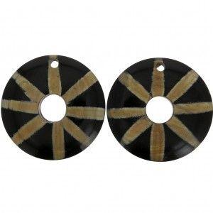Pendentifs ethniques en corne – forme rond rayé 51 mm Noir / Marron x2