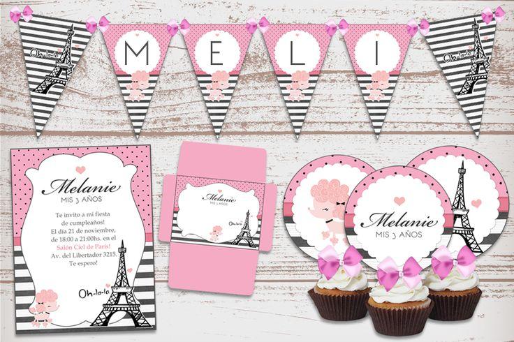 Kit Imprimible París, Torre Eiffel, cumpleaños de nena. Baby Shower, Nacimiento, 1 Añito.
