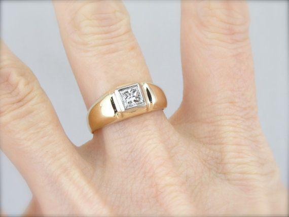0.52ct  Princess Cut 14k Solid E/VVS1 Yellow Gold Valentine Special Men Ring #uniquegemstone17