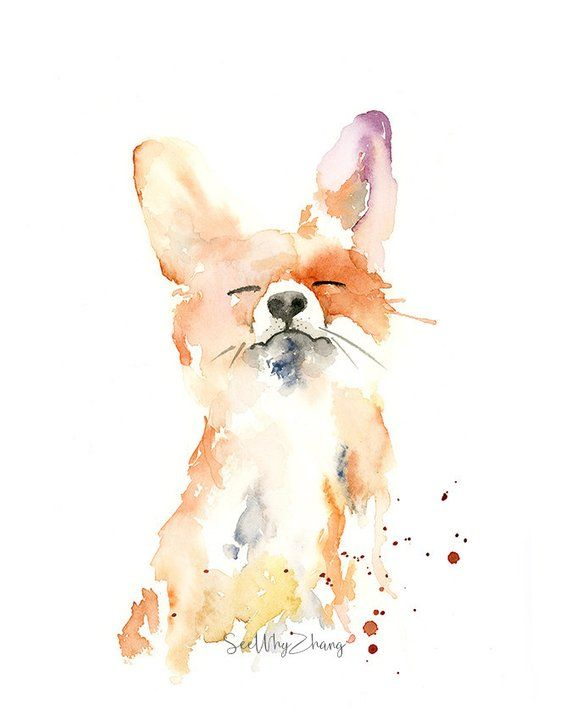 Proud Fox Watercolor Fine Art Print – modern wild animal art, watercolor fine art for fox lovers, playful fox watercolor painting