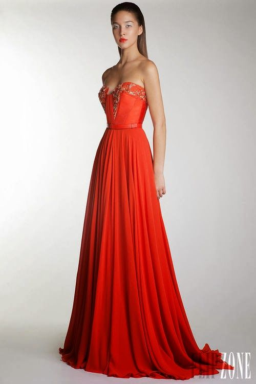 Magnificient red-orange Basil Soda gown