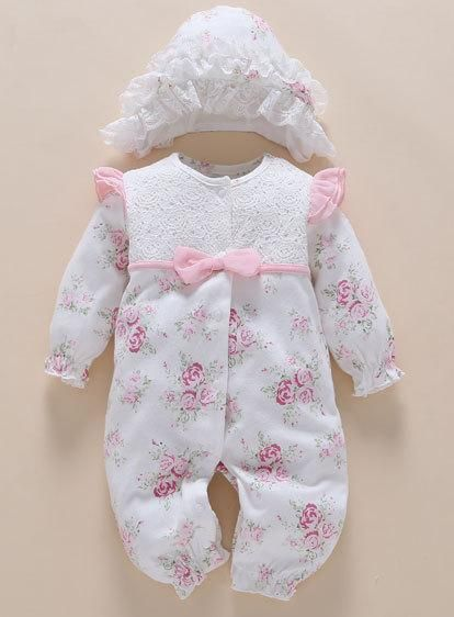 e5890c2268051 4pcs/Set New Born Baby Girl Clothes Romper Cotton Cute Embroidery Baby  Toddler Rompers+Headband+Sock+Hat Meisje Vestido Batism
