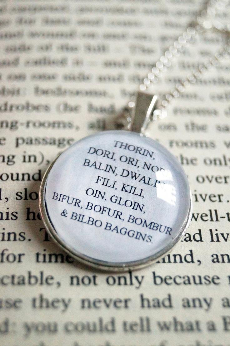 Thorin, Dori, Ori, Nori, Balin, Dwalin, Fili, Kili, Oin, Gloin, Bifur, Bofur, Bombur & Bilbo Baggins - The Hobbit Necklace. £7.99, via Etsy.