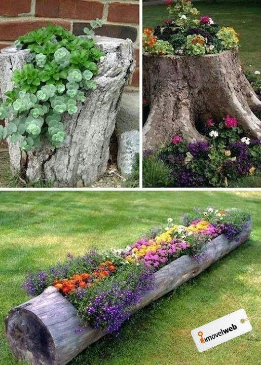 Reciclaje de troncos muertos como macetas | #Reciclaje - #DIY – Recycling ecoagricultor.com