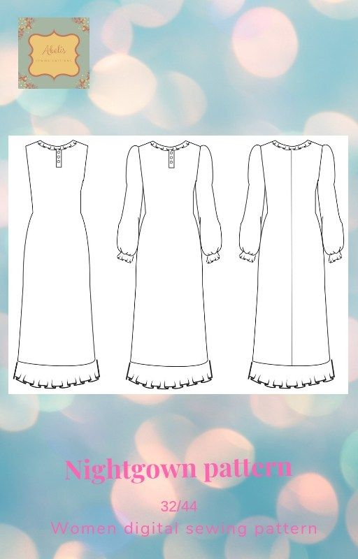 Long nightgown pattern AFS1415111P - Long nightgown pattern women ...