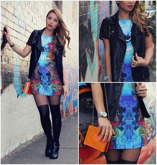 Witchery Perspex Clutch, Sportsgirl Faux Leather Vest, Koogal Shift Dress