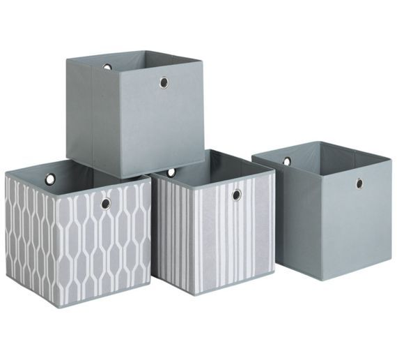 Buy HOME 4 Non Woven Boxes - Grey Geo at Argos.co.uk, visit Argos.co.uk to shop online for Storage baskets and boxes, Storage, Home and garden