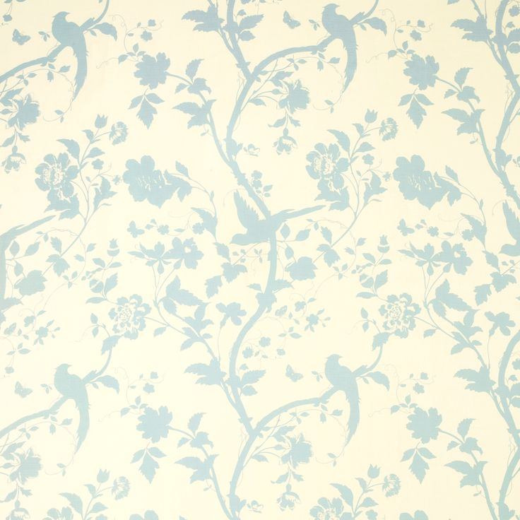 Oriental Garden Duck Egg Floral Cotton Mix Curtain Fabric at Laura Ashley