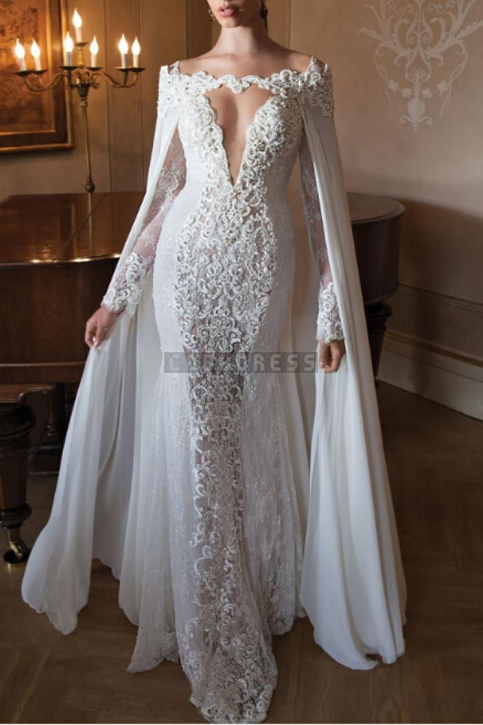 Plunging Sexy Lace Mermaid Sweep Train Wedding Dress