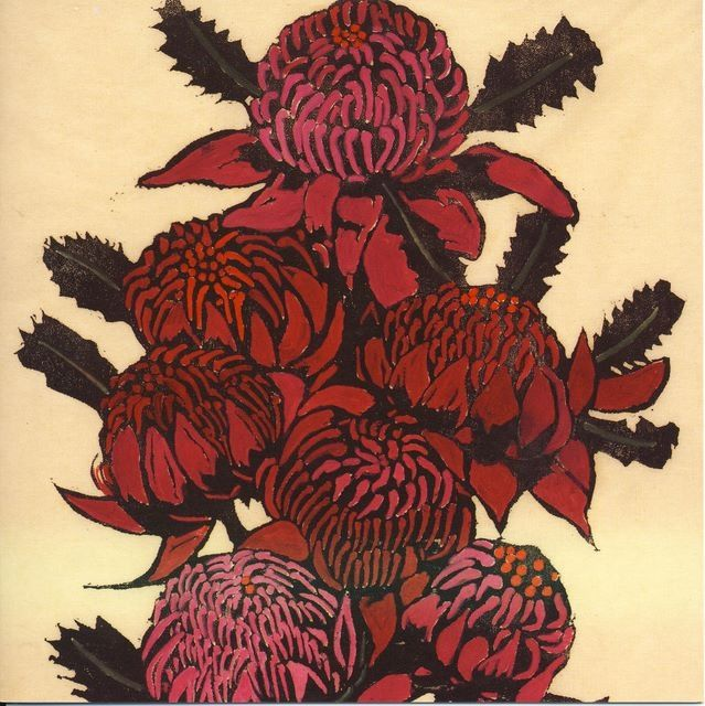 "Waratahs - Margaret Preston. Roger McDonald mentions this Australian artist in his story ""The Bullock Run."""