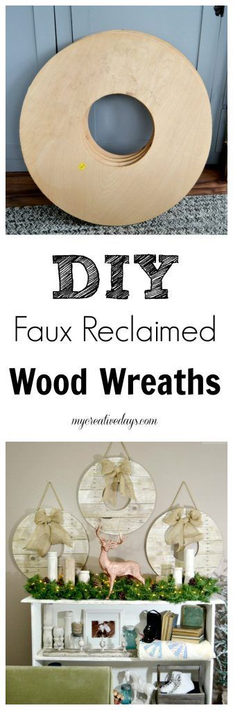 DIY Faux Reclaimed Wood Wreaths