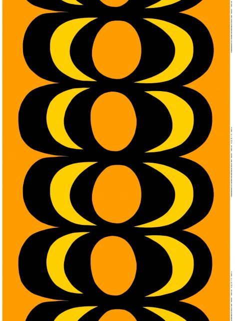 Kaivo Heavyweight Cotton (orange, black, yellow) | Fabrics, Cottons | Marimekko