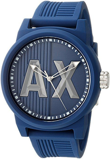 Armani Exchange Mens AX1454 Blue Silicone Watch Water Proof NEW!! #ArmaniExchangeWatches