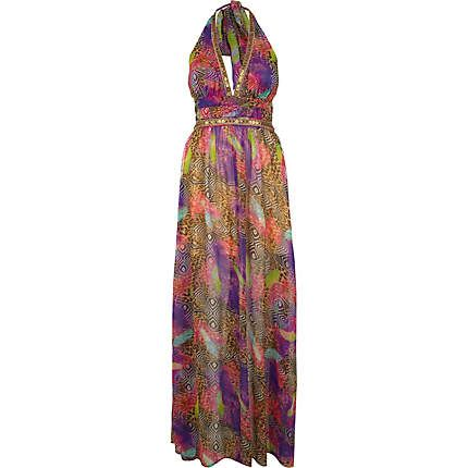 Pink Pacha feather animal print maxi dress - pacha - swimwear / beachwear - women