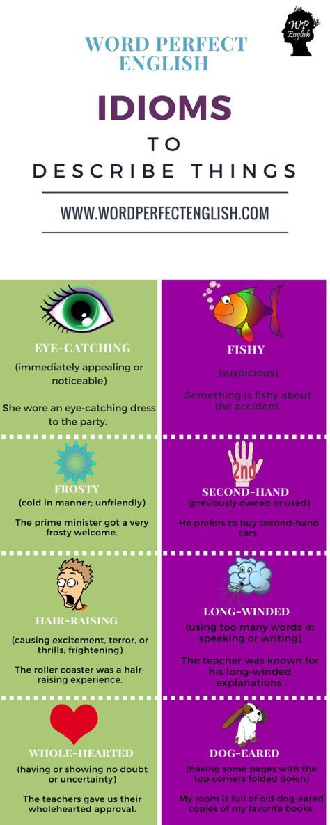 Idioms to describe things