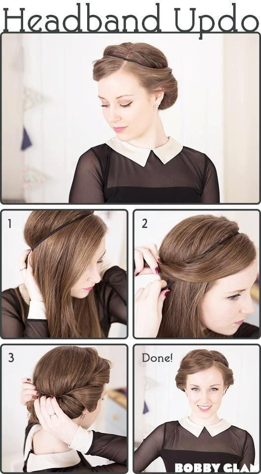 ok this is cute, but my headbands never stay in place, so I'm thinking a cute hairclip in the front/side of the headband and another clip or a cute comb in the middle of the back right above where the hair goes in could hold it in place...? original pinner: hairband updo, very easy!