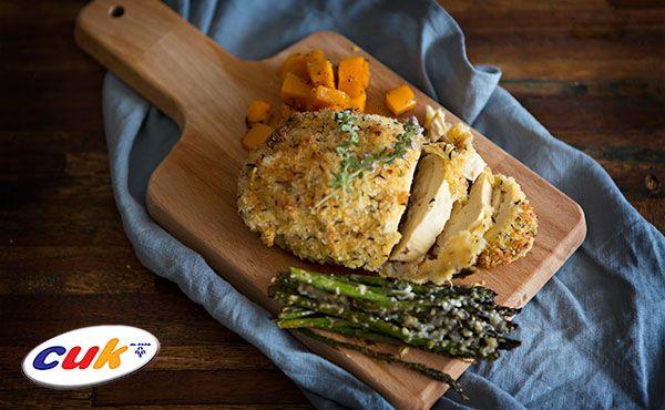 Receta de pollo CUK al horno con calabaza y espárragos