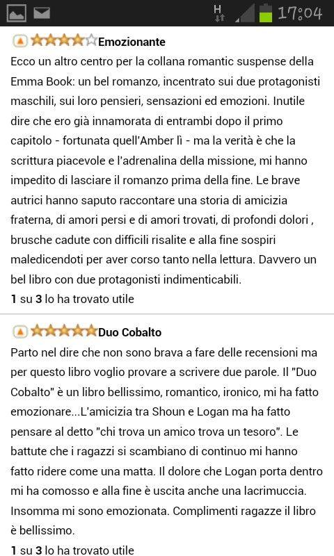 Cosa dicono di DUO COBALTO? Ecco due bellissime recensioni Amazon.