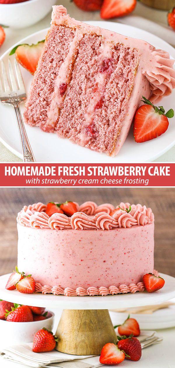 Hausgemachte Erdbeerkuchen Rezept | Ultimativer Erdbeer-Liebhaber-Kuchen   – Kuchen, Torten, Creme, Macrons, Desserts.