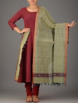 Green Natural-dyed Cotton Dupatta