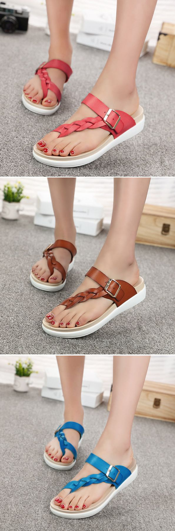 US$19.72 Leather Knitting Weave Buckle Clip Toe Flat_ Open Heel Flip Flops Sandals_Beach Sandals For Summer