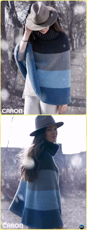 Crochet Cozy Cowl Cape Poncho FreePattern - Crochet Women Capes & Poncho Patterns