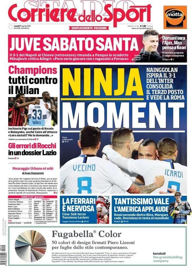 Corriere dello Sport (15 de abril de 2019) Portadas de