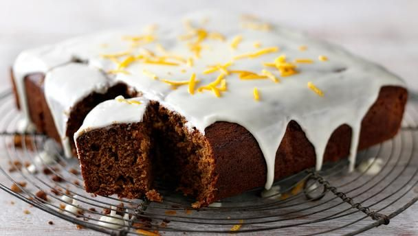 perfect for bonfire night! Gingerbread cake with orange icing