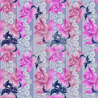 Безшовная предпосылка шнурка картины роз цветков