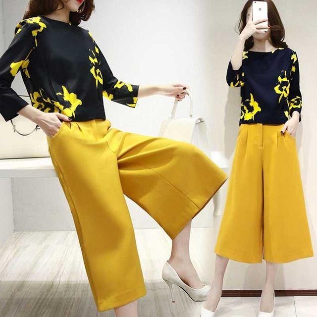 2 Deux Pièces Ensemble Femmes Corée 2016 Nouveau Doux Jaune Fleurs imprimer Tops Large Jambe Pantalon Chemise À Manches Longues Femmes Ensemble Vêtements printemps