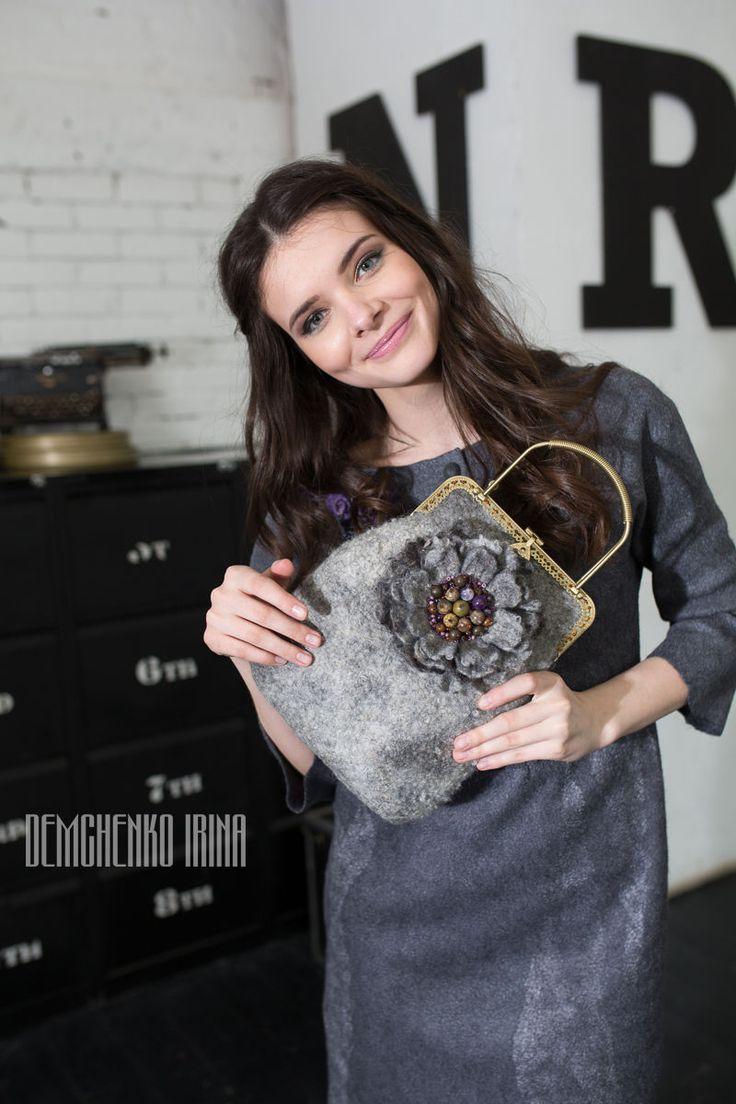 Купить Валяная сумочка «Фиолетовые камни» - войлок, авторская работа, ирина демченко, женственность