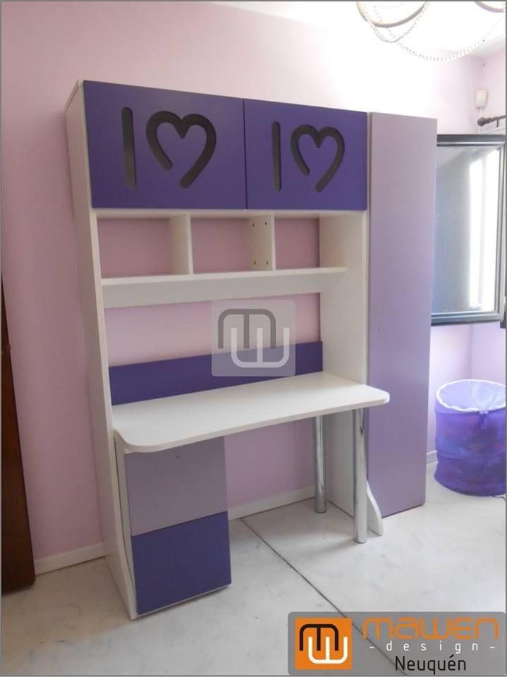 Alzada con puertas de abrir superior escritorio con for Muebles juveniles la plata