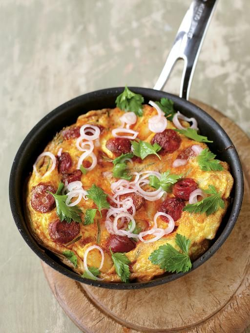 Potato & Chorizo Omelette | Eggs Recipes | Jamie Oliver Recipes.  Serves 2.  This is what I call an omelette. Incredibly tasty.