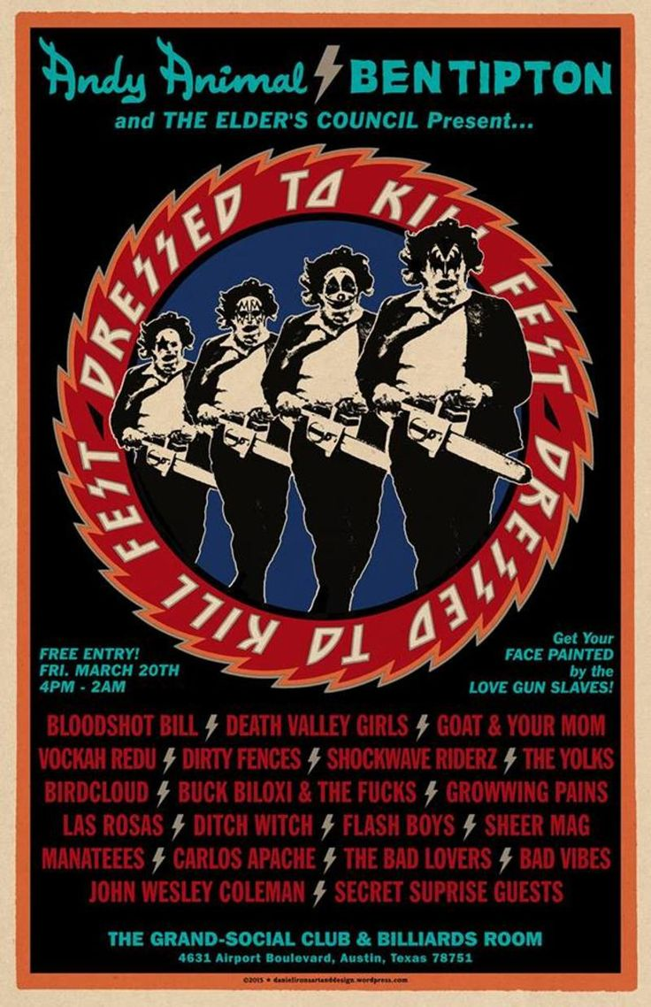 Dressed To Kill Fest feat. Bloodshot Bill, Dirty Fences, Death Valley Girls, and More | Friday, March 20, 2015 | 4pm-2am | The Grand-Social Club & Billiards Room: 4631 Airport Blvd., Austin, TX 78751 | Multiple bands covering KISS songs; face painting by the Love Gun Slaves | Free with RSVP via Do512: http://2015.do512.com/dressedtokillfest2015