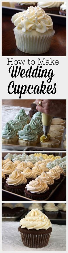 How to Make Wedding Cupcakes - easy recipe! : make your own beautiful cupcakes for your wedding.  It's not as difficult as you may think!  Recipes for cupcakes and the best buttercream icing included.  As well as tips for timing, transport and display.