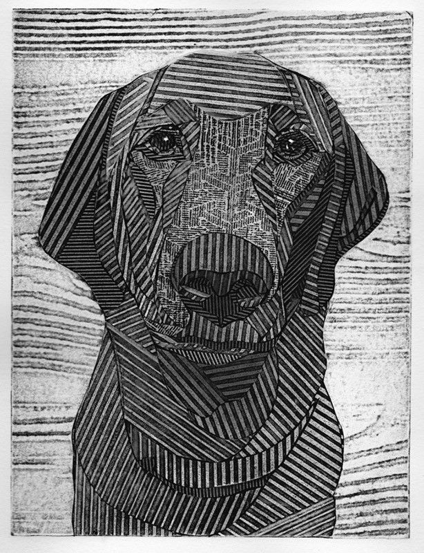 Black labrador retriever original black and white collograph black lab dog print charlie 2