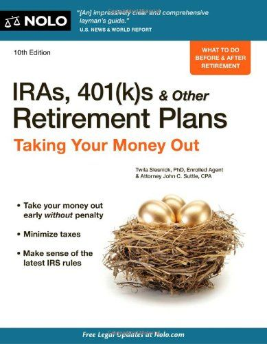 http://pfpins.com/iras-401ks-other-retirement-plans-taking-your-money-out/ Written by two experts in tax and investment planning, IRAs presents the different types of retirement plans that are affected by distribution rules. It covers the tax options available to individuals when they either change employers or retire and have to take all of their money out of the employer's qualified plan. The book also examines IRAs and the new Roth IRAs: ...