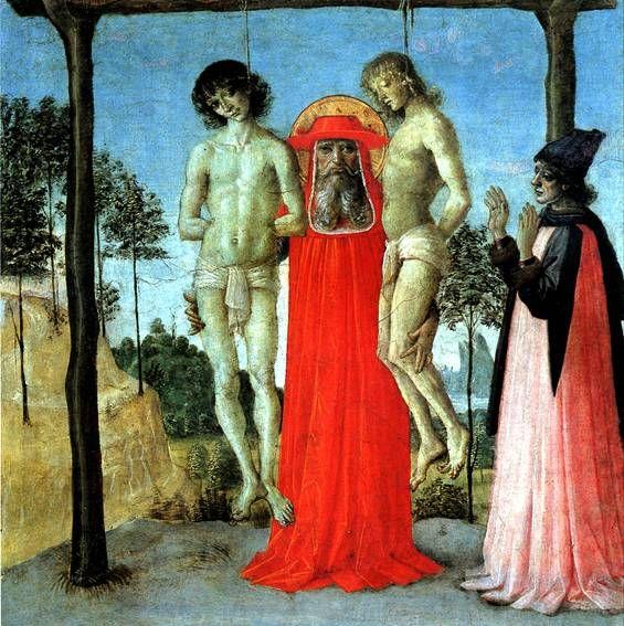 Перуджино - Св. Иероним, поддерживающий двух казненных.    Дерево, 31 х 30 см. Поступила в Лувр в 1863 г.