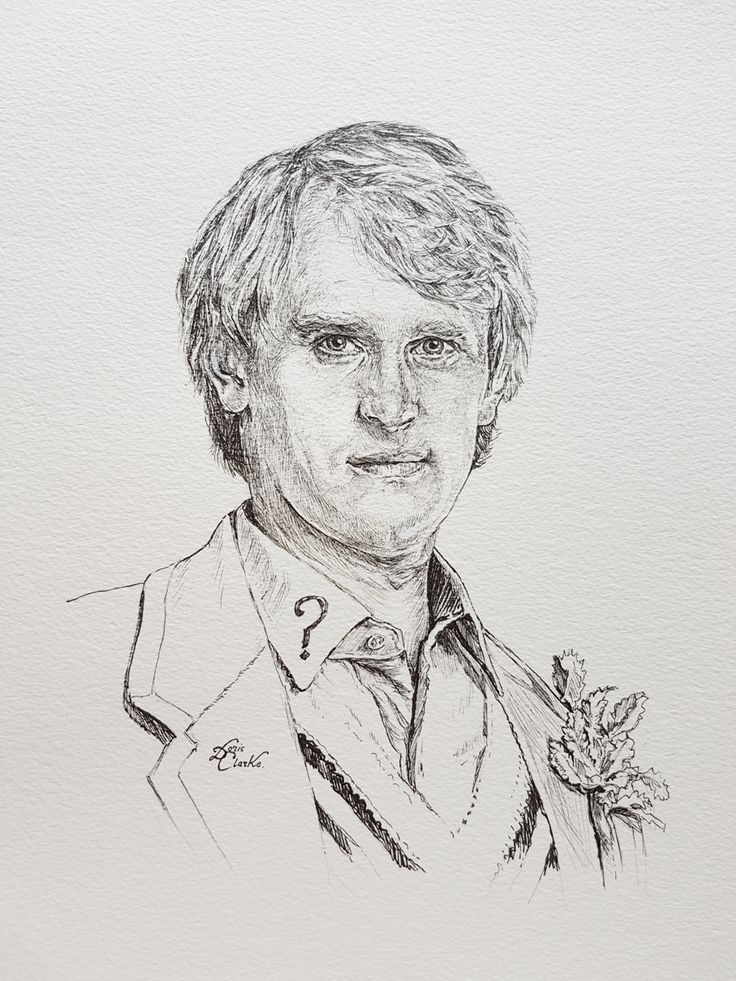 Peter Davidson as the 5th Doctor. Pen & Ink illustration drawn by Doris - copyright 2017.  #drwho #peterdavidson #5thDoctor