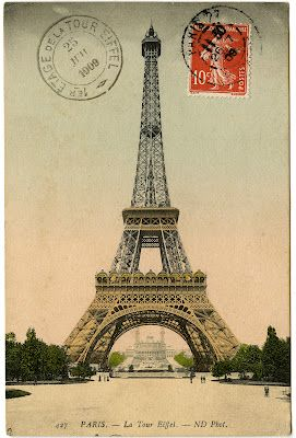 Vintage Image - Eiffel Tower Photo and Postmark - The Graphics Fairy