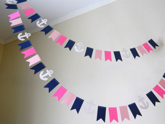 Paper Garland/ 10 ft Mini Flag by anyoccasionbanners on Etsy, $12.50  Cute nautical wedding decoration!