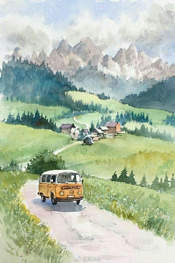 Pinterest Vsco Insta Blakeissiah Watercolor Landscape
