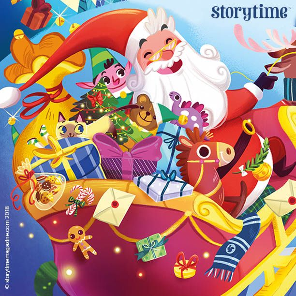 A scene from our stunning illustrated poem A Visit from St Nicholas by Clement Clarke Moore (Twas the Night Before Christmas), illustrated by Giorgia Broseghini in Storytime Issue 40. ~ STORYTIMEMAGAZINE.COM