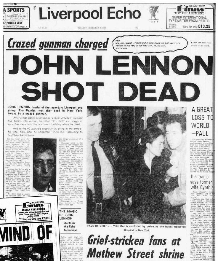 Liverpool Echo front page Tuesday December 9th 1980 of John Lennon shot dead