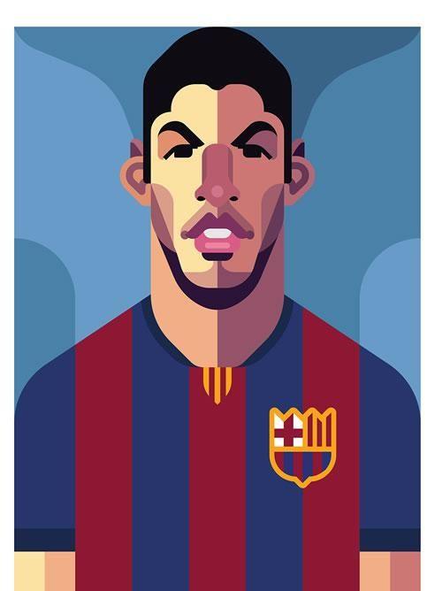 Ilustración de Luis Suárez hecha por Daniel Nyari