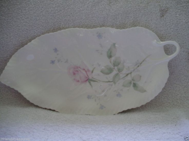 Mikasa April Rose Pattern Dishes Leaf Shaped Plate Platter